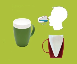 Image documenting a special mug that caters for those who struggle to swallow.